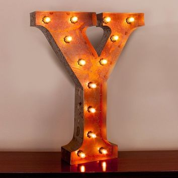 "24"" Letter Y Lighted Vintage Marquee Letters with Screw-on Sockets"