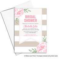 Floral wedding shower invitation printable | Stripe bridal shower invite pink and taupe | digital or printed - WLP00651