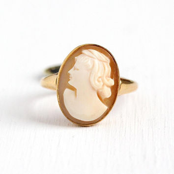 Vintage Cameo Ring - 10k Rosy Yellow Gold Filled Carved Shell Lady New Old Stock w/ Original Tag - 1950s Size 8 Signed U Arrow Uncas Jewelry