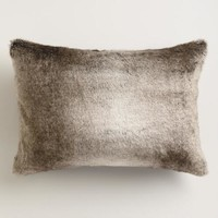 Gray Faux Fur Lumbar Pillow
