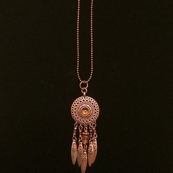 Copper-toned Beaded Dream Catcher Rearview Mirror Charm or Keychain