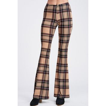 Plaid Knit Bell Bottom Leggings - Beige
