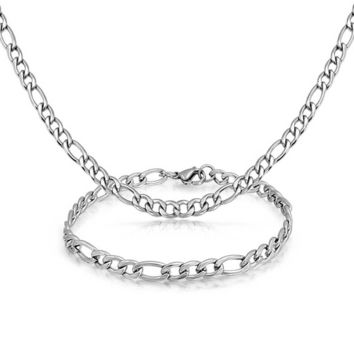 Silver Tone Stainless Steel Necklace Bracelet Set Figaro Chain Men