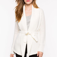 Belted Drape Front Cardigan