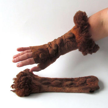 Felted  Mittens  fingerless gloves-  Brown ginger  fur gift under 50