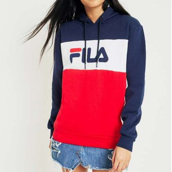 FILA Fashion For Women Men Print Contrast Hoodie SweaterShirt B-KWKWM