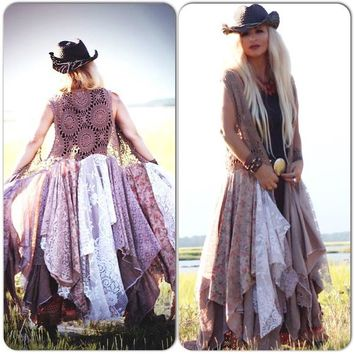crochet n lace boho chic duster jacket for fall, bohemian gypsy spell kimono, brown lace duster, true rebel clothing