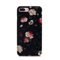 Floral Case for iPhone 8 Plus / 7 Plus - Dark Rose