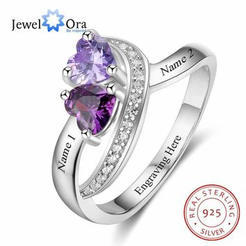 Personalized Promise Ring Heart Birthstone Custom Engrave 2 Names 925 Sterling Silver Anniversary Gift (JewelOra RI103268)