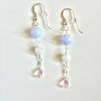 Healing Headaches ~ Handmade Sterling Silver Wire Wrapped Blue Lace Agate, Moonstone & Rose Quartz Earrings