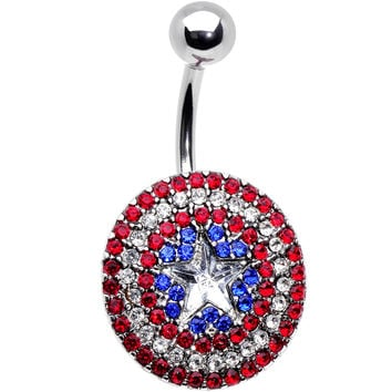 Officially Licensed Patriotic Gem Captain America Shield Belly Ring