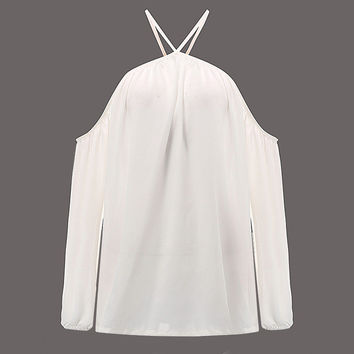 Sexy Off Shoulder  White Halter Blouse S-4XL