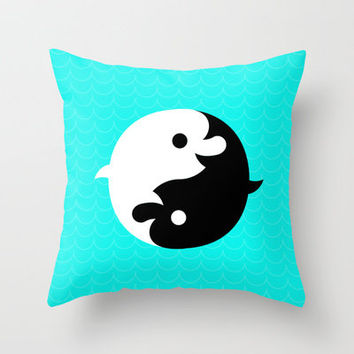 Yin Yang Dolphins Throw Pillow by chobopop