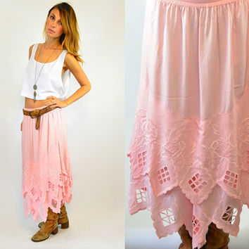 pink GRAPEFRUIT bali cut out TIERED midi boho SKIRT, one size fits all
