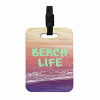 "Alison Coxon ""Beach Life"" Pink Coastal Decorative Luggage Tag"