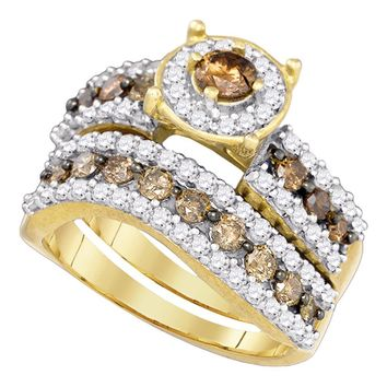 10kt Yellow Gold Round Cognac-brown Color Enhanced Diamond Bridal Wedding Engagement Ring Band Set 1-3/4 Cttw