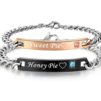 His & Hers Matching Set Titanium Stainless Steel Honey Pie Sweet Pie Couple Bracelet in a Gift Box