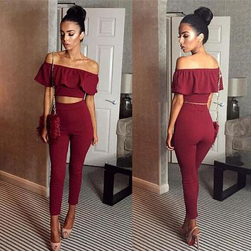Rompers womens Jumpsuit Off Shoulder 2 Pc Set Long Slim Ruffles Bodycon macacao femini Overalls Playsuit Romper Women Jumpsuit