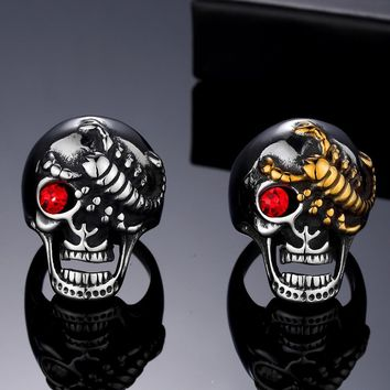 Men's Solid Skull Ring Gothic Punk Biker Rider Red/Blue Eyes Ring Vintage Stainless Steel Skeleton Finger Band Rings Men Jewelry