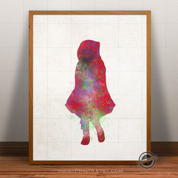 Red Riding Hood Print Watercolor, Little Red Cap Poster, Disney Art, Nursery Illustration, Giclee Wall, Kid Artwork, Comic, Fine Art Decor