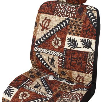 Brown Tapa Design Hawaiian Separate Headrest Car Seat Cover