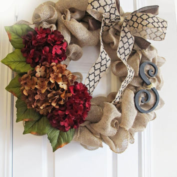 Fall Wreath With Monogram, Burlap Wreath For Fall, Front Door Decor, Personalized Door Decor