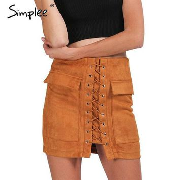 CREYL Simplee Apparel Autumn lace up suede leather women skirt 90's Vintage pocket preppy short skirt Winter high waist casual skirts