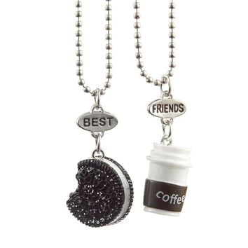 Trendy Cute Biscuits and Coffee Cup Best Friend Jewelry Pendant Necklace For Girls Women Friend Gift 2pcs