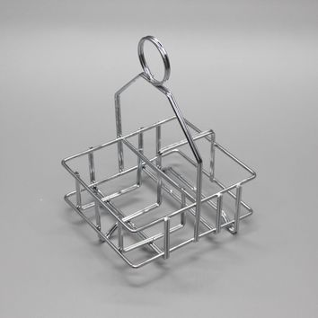 Salt and Pepper Caddy Chrome Plated Condiment Tray Basket 19700