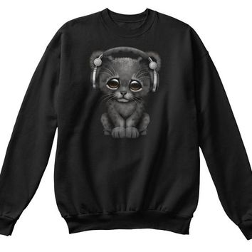 Cute Black Panther Cub Dj Wearing Headphones   Womens Tri Blend V Neck T Shirt