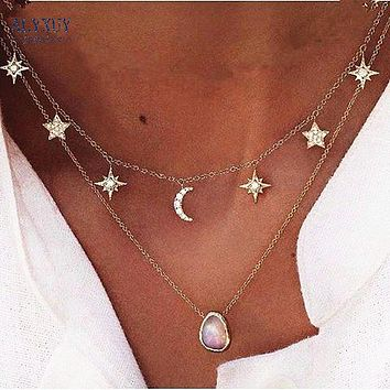 Moon and Stars Spiritual Necklace