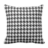 Houndstooth Pattern Black and White Outdoor Pillow