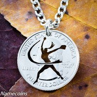 Softball Fastpitch Necklace Hand Cut Coin Necklace
