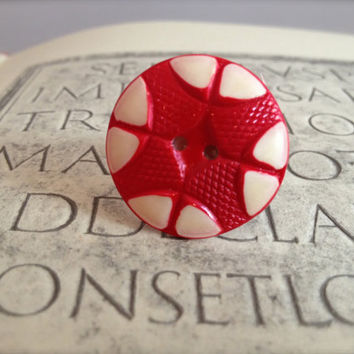 Vintage celluloid red button ring