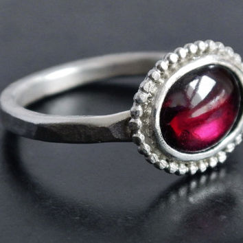 Natural Garnet and Sterling Silver Ring, Bezel Set Rhodolite Garnet, January Birthstone Ring, Cocktail Ring, Gift for Her, Ready to Ship
