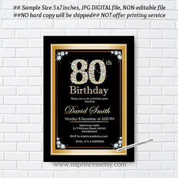Elegant Gold birthday invitation, glam black gold design invitation for any age Party invitation elegant golden Card Design - card 284