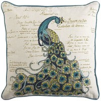 Scripted Jeweled Peacock Pillow