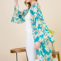 Long Sheer Floral Duster Kimono in Turquoise