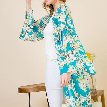 fb7518d61 Long Sheer Floral Duster Kimono in Turquoise