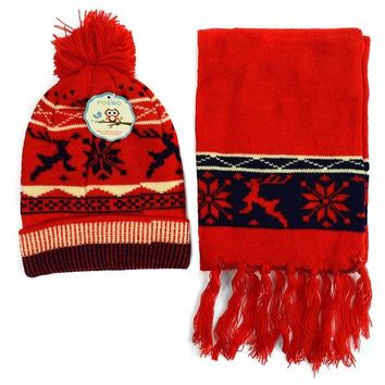 2018 Kid's Knitted Snowflake Reindeer Pom Scarf Hat Set Navy