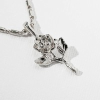 The Silver Little Rose Charm Necklace
