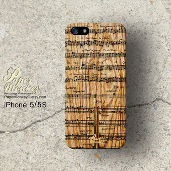 iPhone 5 case, iPhone 4S case, Decoupage case for iPhone. Note music sheet on wood pattern / not real wood.
