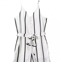 White Striped Botton V-Neckline Romper