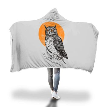 Owl Hooded Blanket Adult And Youth Sizes Grey Color