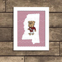 Printable Mississippi State University Bulldogs Poster - MSU - Hail State - PDF 8x10 -  Maroon & White - INSTANT Download