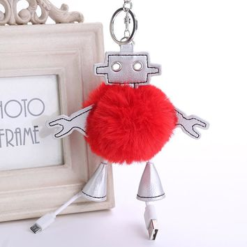 Europe United States Popular Robot Hair Ball Keychain Phone Data Line Women Ornaments PU Leather Pendant Bag Car Jewelry Gift