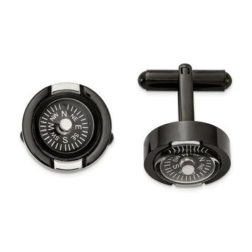 Stainless Steel Polished Black IP-Plated Functional Compass Cuff Links