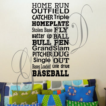 Baseball Sports Vinyl Wall Decal with Various Phrases