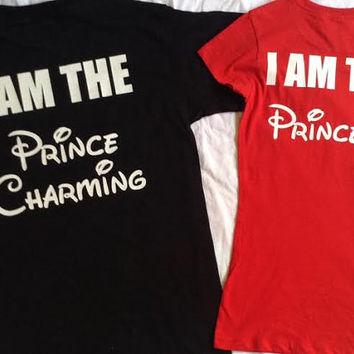 Free Shipping For US Disney Princess and Prince Couples Shirts:Black and Red(color)