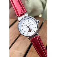 LV 2019 new women's tide brand classic old flower strap simple wild quartz watch #4